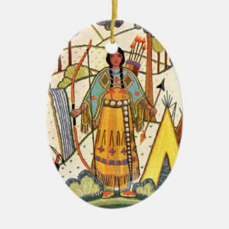 Vintage Native American Woman Village Forest Ceramic Ornament