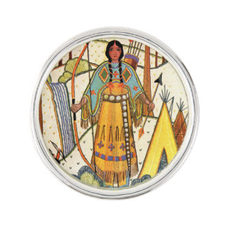 Vintage Native American Woman Village Forest Lapel Pin