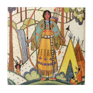 Vintage Native American Woman Village Forest Tile