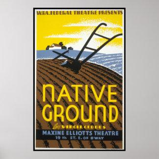 Vintage Native Ground WPA Farming Poster