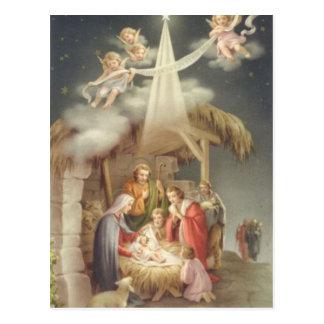 Vintage Nativity Scene Postcard