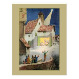 Vintage Nativity scene, Star of Bethlehem Postcard