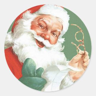 Vintage Naughty or Nice Santa Stickers -
