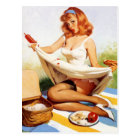 Vintage Naughty Picnic Pin Up Girl Postcard