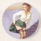Vintage Naughty Teacher Pin Up Girl Coaster