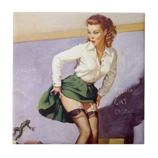 Vintage Naughty Teacher Pin Up Tile