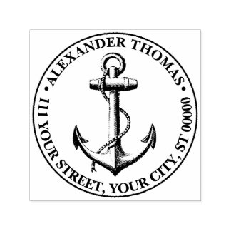 Vintage Nautical Anchor Ship Preppy Self-inking Stamp