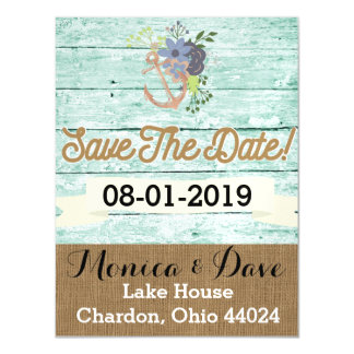 Vintage/Nautical/ Beach/ ShabbyChic/ Save the Date Magnetic Card