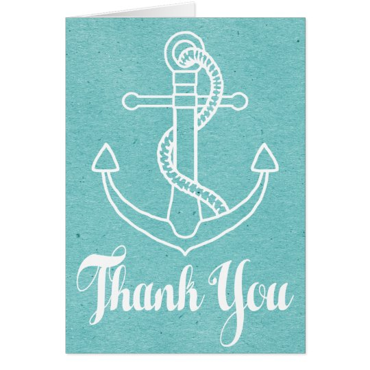 Vintage Nautical Blue Turquoise Thank You Anchor Card