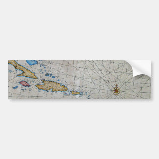 Vintage Nautical Chart Of The Caribbean Bumper Sticker