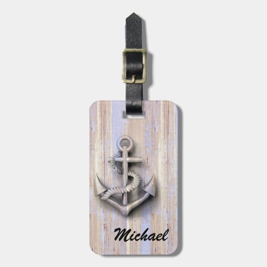 Vintage nautical classy anchor wooden personalized luggage tag