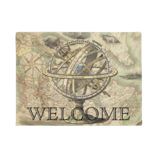 Vintage Nautical Compass and Map Custom Doormat