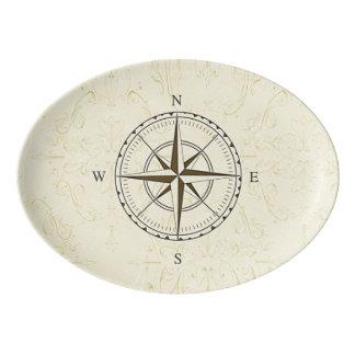 Vintage Nautical Compass Ivory Porcelain Serving Platter
