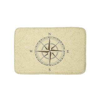 Vintage Nautical Compass Rose Ivory Bathroom Mat
