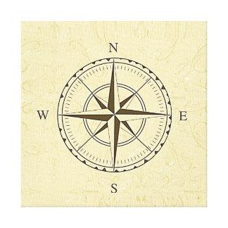 Vintage Nautical Compass Rose Ivory Canvas Print