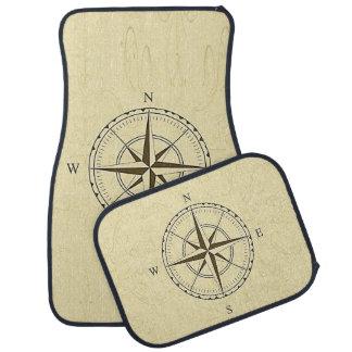 Vintage Nautical Compass Rose Ivory Car Mat