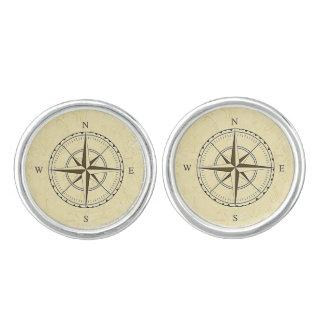 Vintage Nautical Compass Rose Ivory Cufflinks