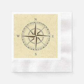 Vintage Nautical Compass Rose Ivory Disposable Napkins