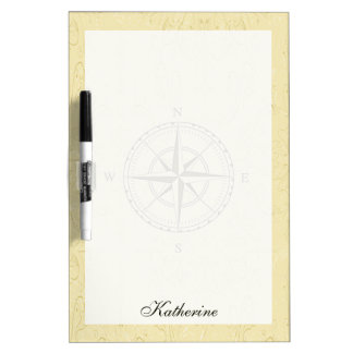 Vintage Nautical Compass Rose Ivory Dry Erase Board