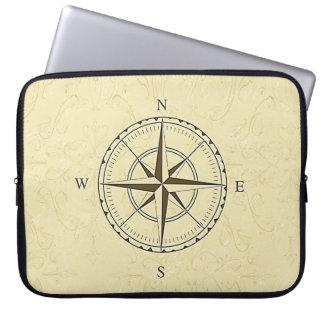 Vintage Nautical Compass Rose Ivory Laptop Sleeve