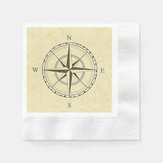 Vintage Nautical Compass Rose Ivory Paper Napkin