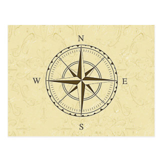 Vintage Nautical Compass Rose Ivory Postcard