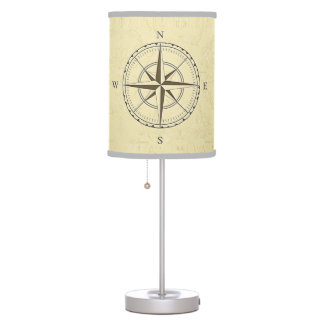 Vintage Nautical Compass Rose Ivory Table Lamp