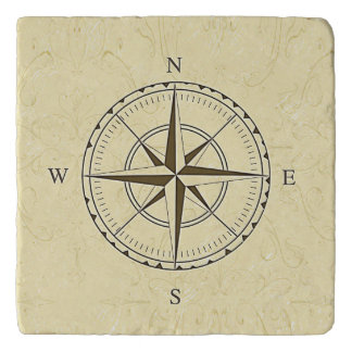 Vintage Nautical Compass Rose Ivory Trivet