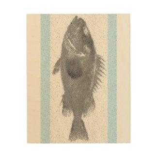 Vintage Nautical Fish Beach Wood Canvas Art-Teal
