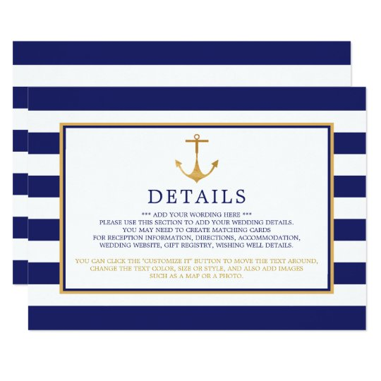 Vintage Nautical Gold Anchor Wedding Detail Card