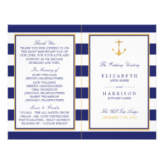 Vintage Nautical Gold Anchor Wedding Program