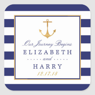 Vintage Nautical Gold Anchor Wedding Square Sticker