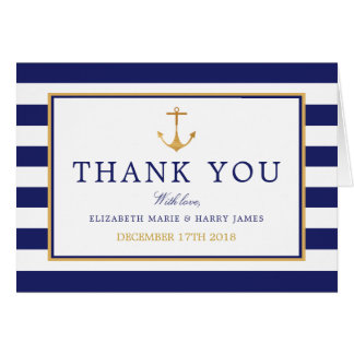 Vintage Nautical Gold Anchor Wedding Thank You Card