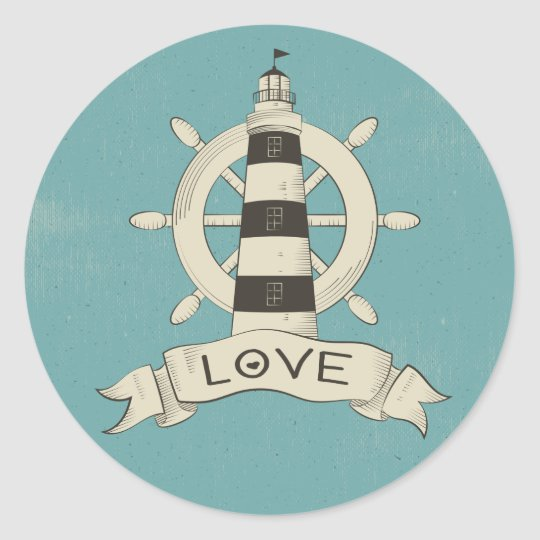 Vintage Nautical  Lighthouse & Ship Anchor Teal Round Sticker
