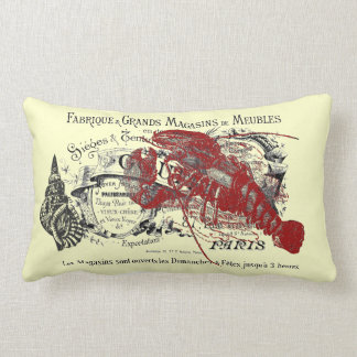 Vintage Nautical Lobster and Shell Collage Lumbar Pillow