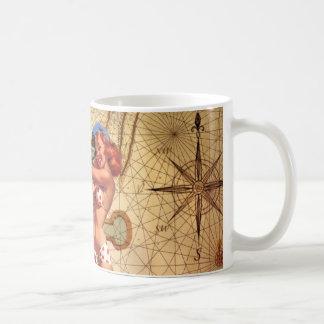 Vintage Nautical Map Anchor Pin Up Girl Sailor Classic White Coffee Mug