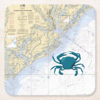 vintage Nautical map of Charleston Harbor Square Paper Coaster