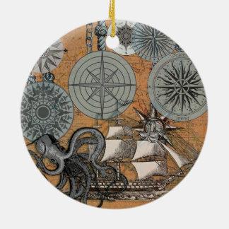 Vintage Nautical Octopus Sailing Art Print Graphic Ceramic Ornament