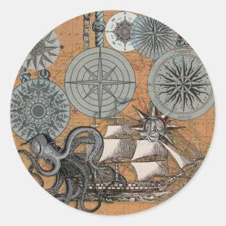 Vintage Nautical Octopus Sailing Art Print Graphic Classic Round Sticker
