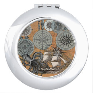 Vintage Nautical Octopus Sailing Art Print Graphic Compact Mirror
