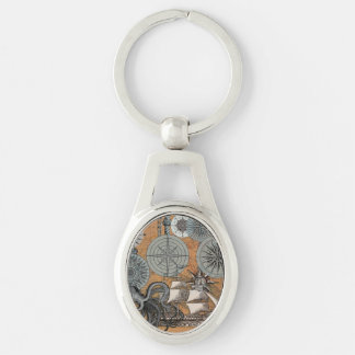 Vintage Nautical Octopus Sailing Art Print Graphic Keychain