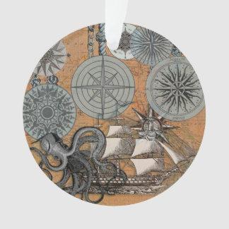 Vintage Nautical Octopus Sailing Art Print Graphic Ornament