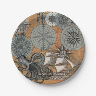 Vintage Nautical Octopus Sailing Art Print Graphic Paper Plate
