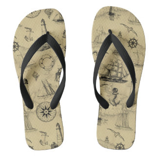 Vintage Nautical Pattern Old Map Background Flip Flops