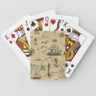 Vintage Nautical Pattern Old Map Background Playing Cards