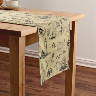 Vintage Nautical Pattern Old Map Background Short Table Runner