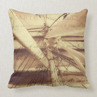 Vintage Nautical Sailing Typography in Sepia Throw Pillow