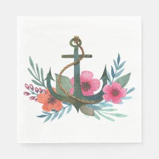 Vintage Nautical Ship Anchor Floral Pink Flowers Paper Napkins