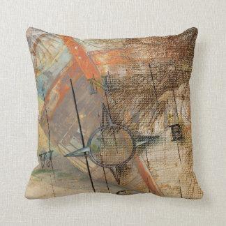Vintage Nautical Shipwreck Throw Pillow
