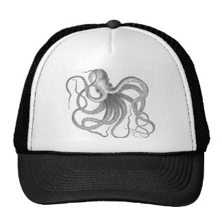 Vintage nautical steampunk octopus summer print trucker hat